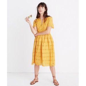 Madewell Mustard Scalloped Eyelet Dress Size 00